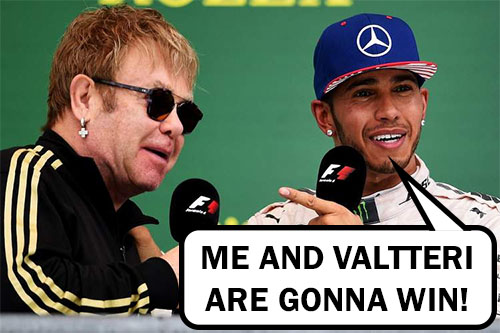"""Lewis Hamilton saying """"Me and Valtteri are going to win"""" while pointing at Elton John"""