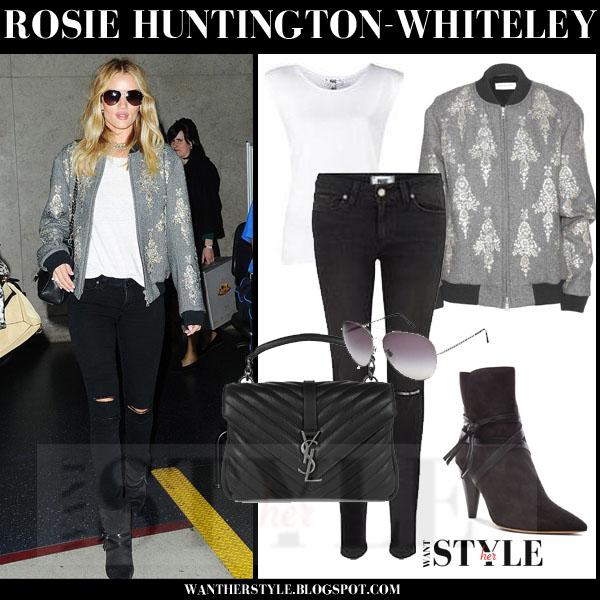 Rosie Huntington Whiteley In Grey Embellished Bomber