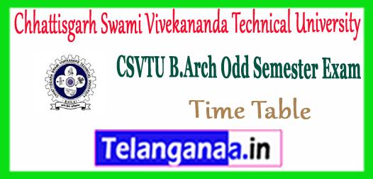 CSVTU Chhattisgarh Swami Vivekananda Technical University B.Arch Time Table 2017