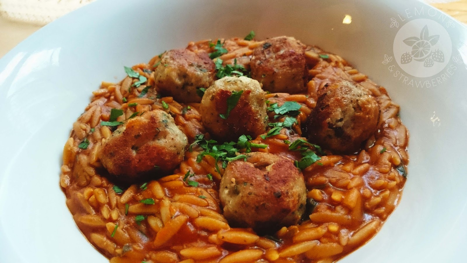 Greek meatballs & kritharaki (orzo) in tomato sauce