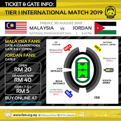 Harga Tiket Malaysia vs Jordan Friendly Match 30.8.2019