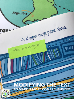 Modifying the text of Aquí también to make it more comprehensible