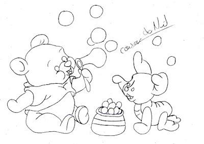 desenho do ursinho pooh com seu amigo leitão para pintar em fraldas
