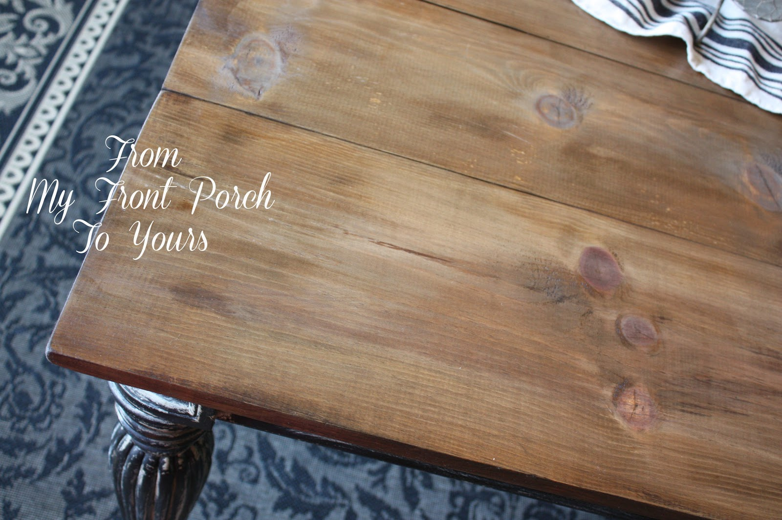 diy wood plank table top reveal