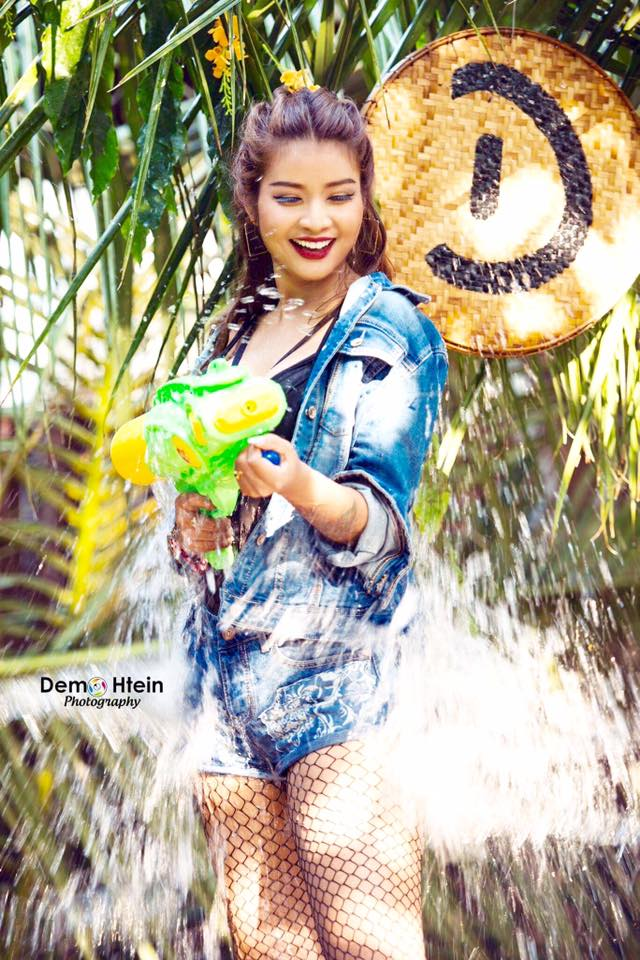 Chaw Kalayar Splashing Water Thingyan Style Photoshoot