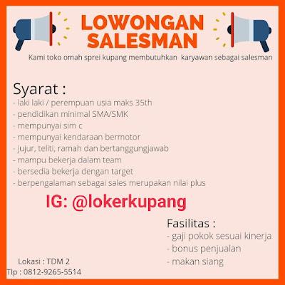 Lowongan Kerja Toko Omah Sprei Kupang Sebagai Salesman