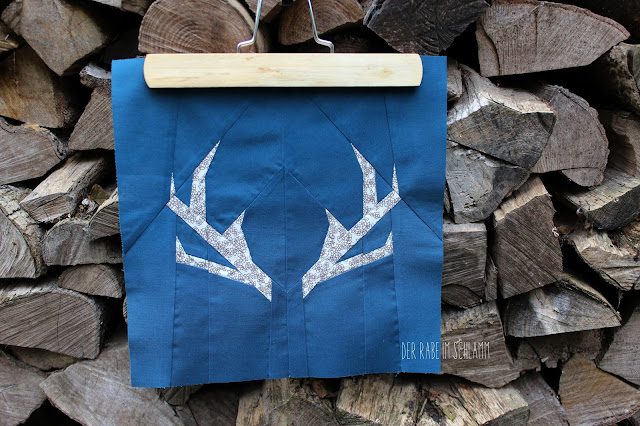 Der Rabe im Schlamm, Quiltblock, Antlers, Patchwork, Quilt, Fall Block Party, fabricdotcomblockparty