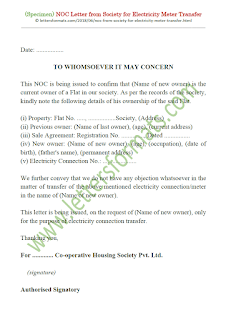 noc letter format from society for electricity meter transfer
