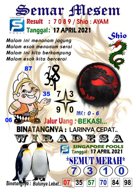 Syair Semar Mesem SGP Sabtu 17-Apr-2021