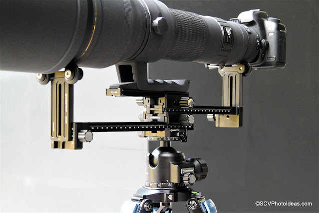 Sunwayfoto YLS-G3 assembly A with extra Dual Subtend clamp and Sigma lens/camera detail