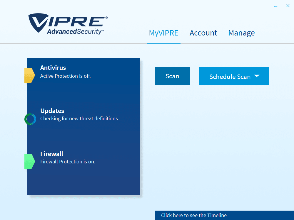 VIPRE Advanced Security Main Interface Screenshot
