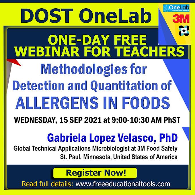 DOST One-Day Free International Webinar on Methodologies for Detection and Quantitation of Allergens in Food | September 15, 2021 | Register Now!