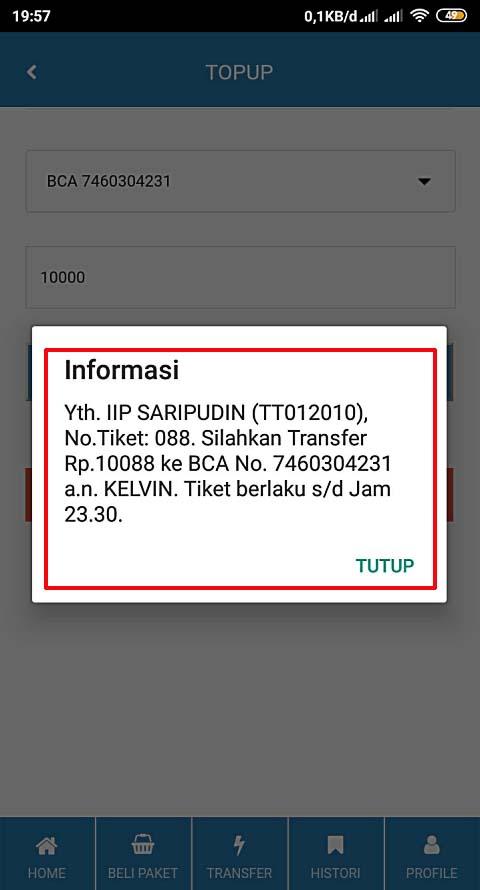 informasi Top up deposit