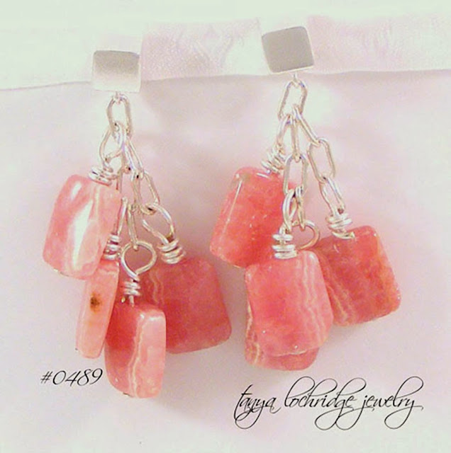 Tanya Lochridge Jewelry Rhodochrosite Gemstone Sterling Silver Cube Drop Earrings