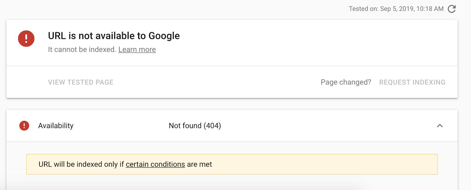 Lỗi lập chỉ mục Google