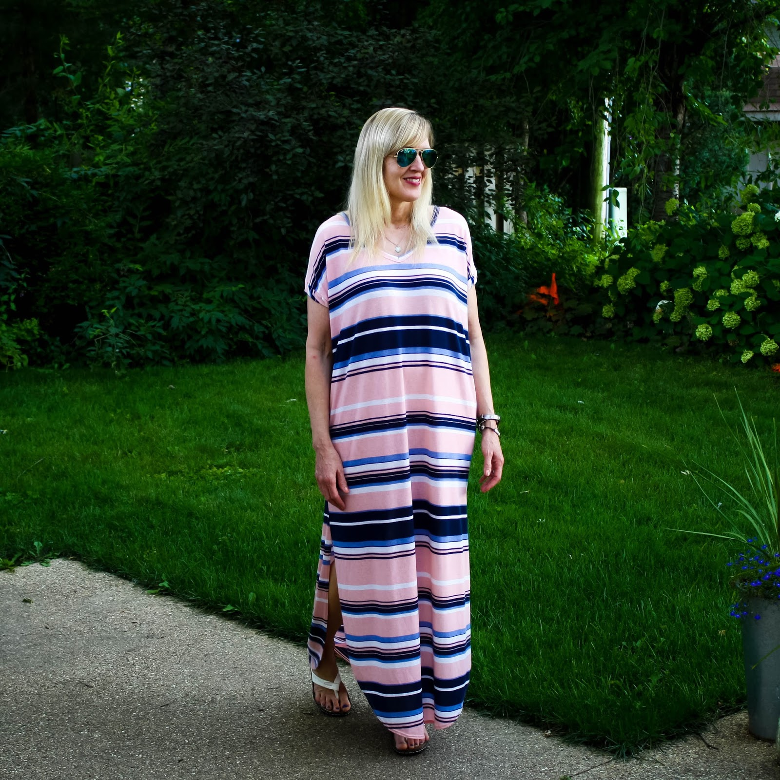 Blush and Navy Striped Maxi Dress