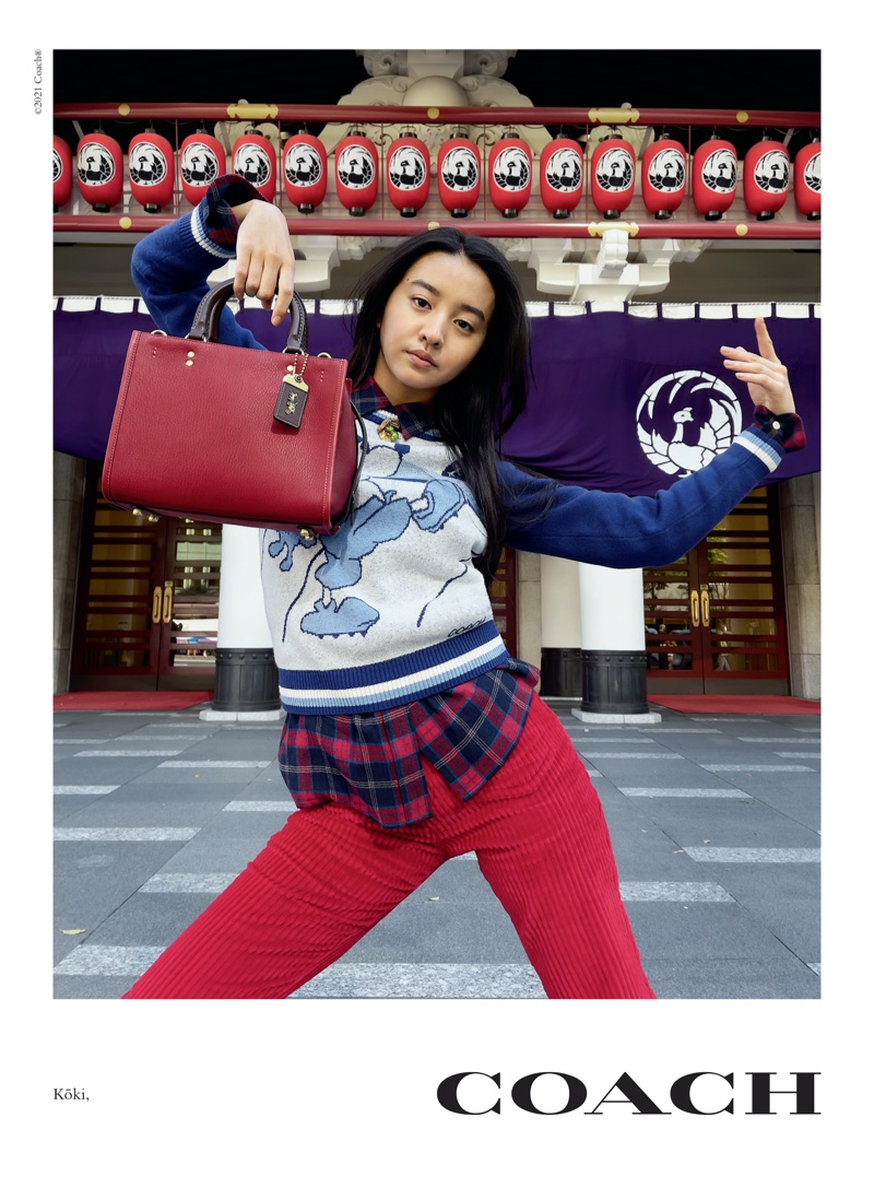 Koki appears in Coach Rogue Bag campaign