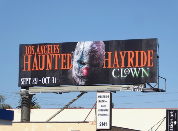 Los Angeles Haunted Hayride Clown billboard