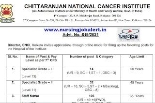 CHITTARANJAN NATIONAL CANCER INSTITUTE STAFF NURSE VACANCY