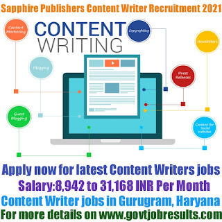 Sapphire India Publishers Content Writer Recruitment 2021-22
