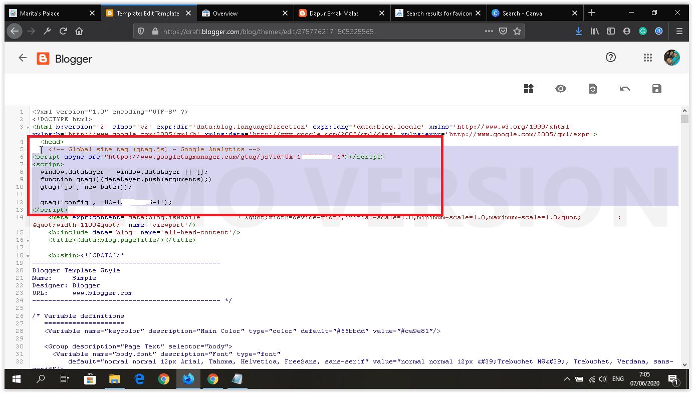 cara memasang google analytics kode pelacakan kode track di html