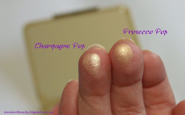 Swatches of Shimmering Skin Perfector Pressed Powders Champagne Pop and Prosecco Pop