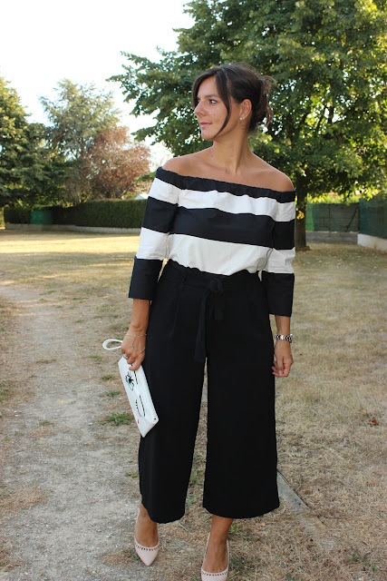 Top off shoulder, jupe culotte noire zara