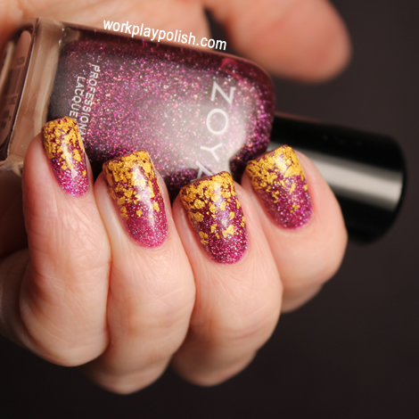 Zoya Aurora and Zoya Gilty 18K Gold Flake Topcoat Gradient (work / play / polish)