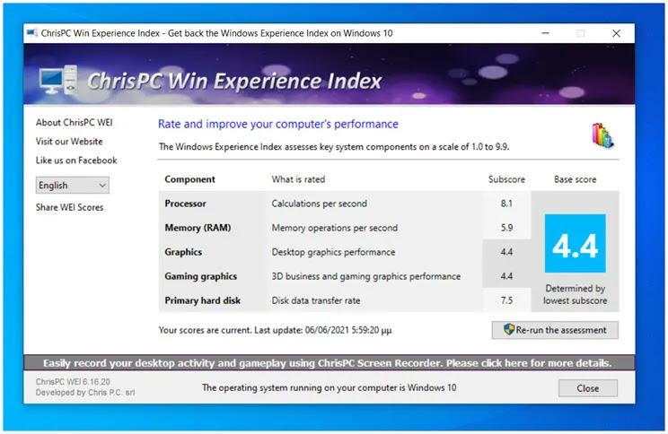 ChrisPC Win Experience Index :  Αξιολογήστε την υπολογιστική  δύναμη  στο PC σας