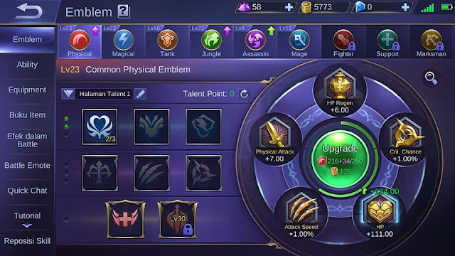 menaikkan emblem mobile legend