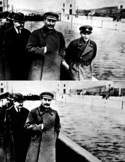 From left to right : some guys, Josef Stalin and Nikolai Yezhov of the NKVD aka the Vanishing Commisar.