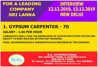 Gypsum Carpenter Required for Sri Lanka