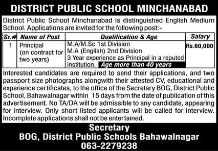 District Public School Minchanabad Bahawalnagar Jobs