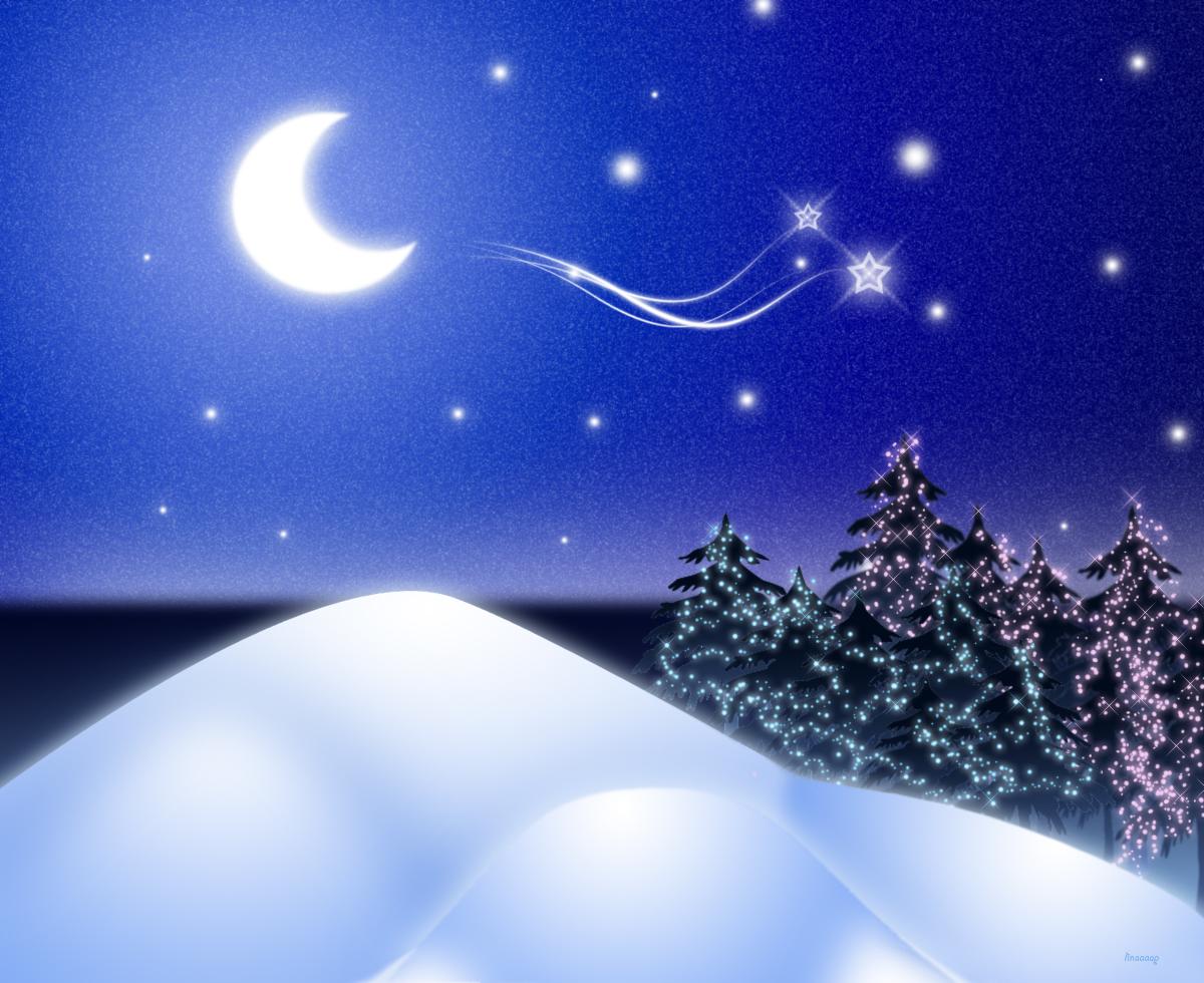 χριστουγεννιάτικη έναστρη νύχτα με φεγγάρι
