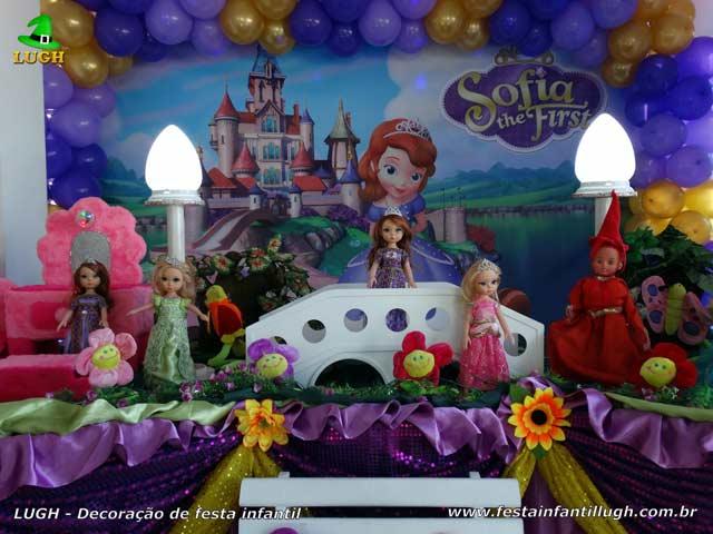Mesa decorada da Princesa Sofia - Festa infantil