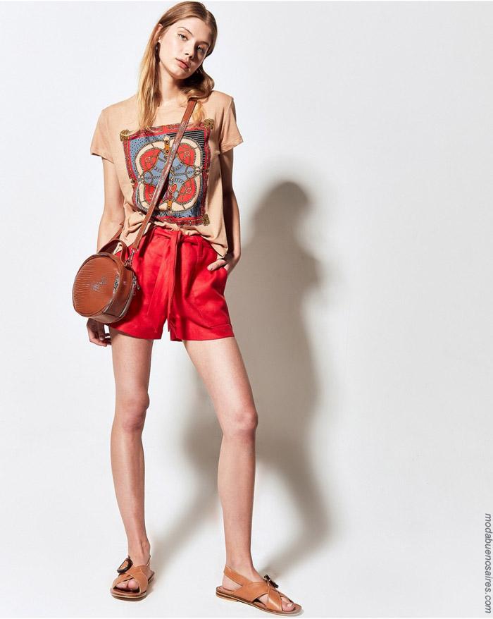 Remeras y shorts de mujer primavera verano 2020.