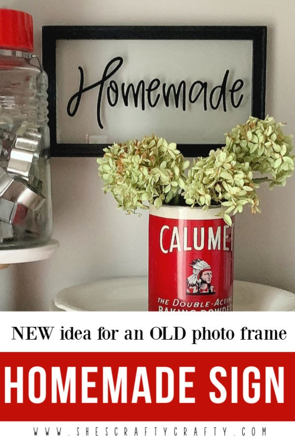 new idea for an old photo frame |  Homemade word sign