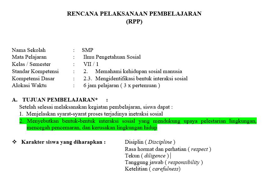 Rpp Dan Silabus Adiwiyata Ips Kelas 7 Semester Ganjil Didno76 Com