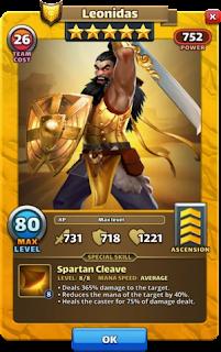 Original Leonidas Hero Card Empires and Puzzles