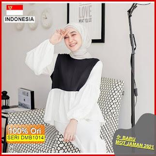 DMB1014 FASHION ATASAN 1KG MUAT 5PCS BLOUSE MONOCHROME BLACK AND WHITE FASHION WANITA HITS SELEBGRAM MUSLIMAH BARU 2021