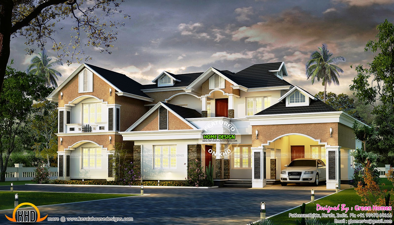 March 2015 kerala home design and floor plans for Colonial style home design in kerala