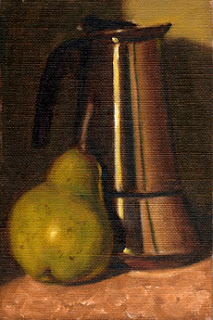 Oil painting of a green pear beside a stainless steel coffee percolator.