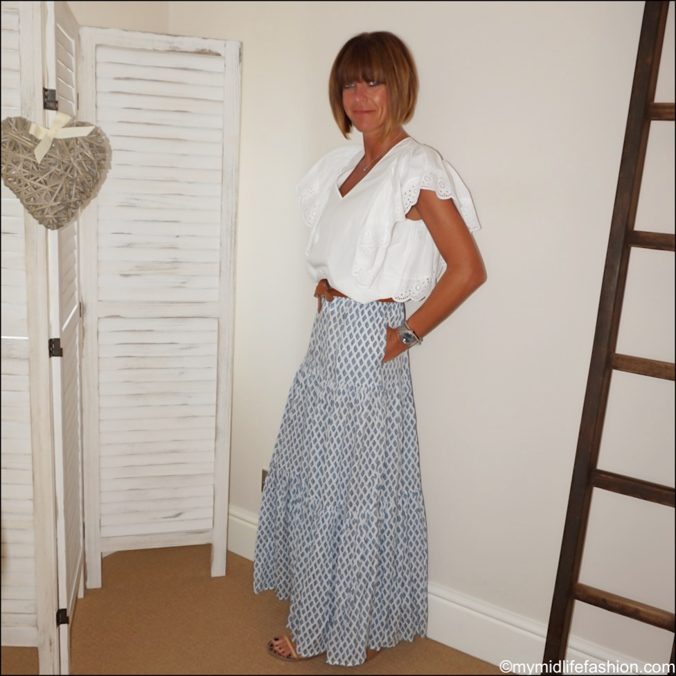my midlife fashion, Zara tiered maxi skirt, Chloe broderie frill detail blouse, Isabel Marant leather belt, Ancient Greek leather sandals
