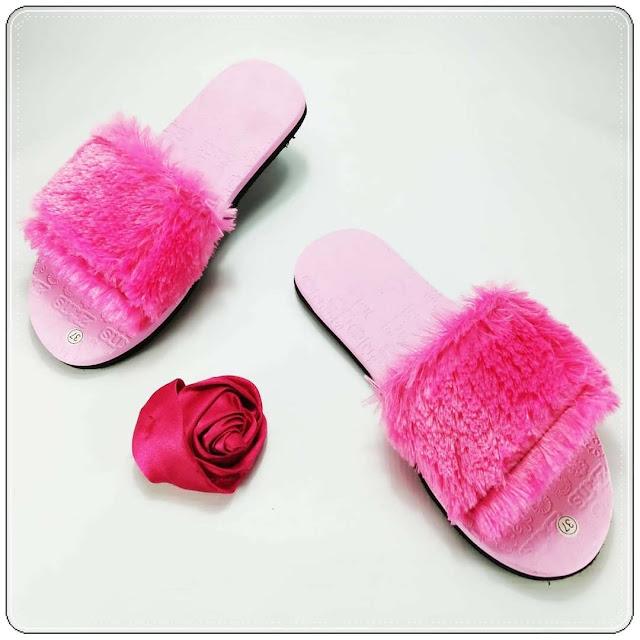 grosirsandalmurah.org - sandal Wanita - Teplek Slop Bulu GSJ