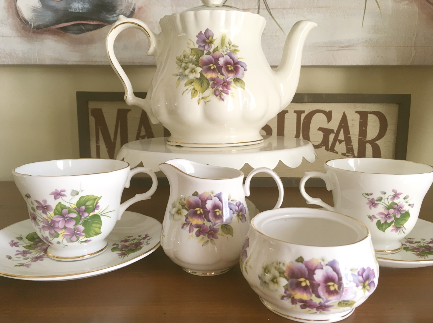 Vintage Tea Treasures, Crown Trent violets teacup, Crown Trent bone china violet teacup and saucer set, Crown Trent tea ware, bone china teaware, Windsor pansy teapot, Windsor bone china pansy teapot,  Allyn Nelson pansy milk jug, Allyn Nelson pansy sugar bowl, Allyn Nelson bone china pansy milk jug and sugar bowl, mix and match tea set, violets and pansies tea set, vintage tea set