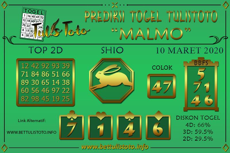 Prediksi Togel MALMO TULISTOTO 10 MARET 2020