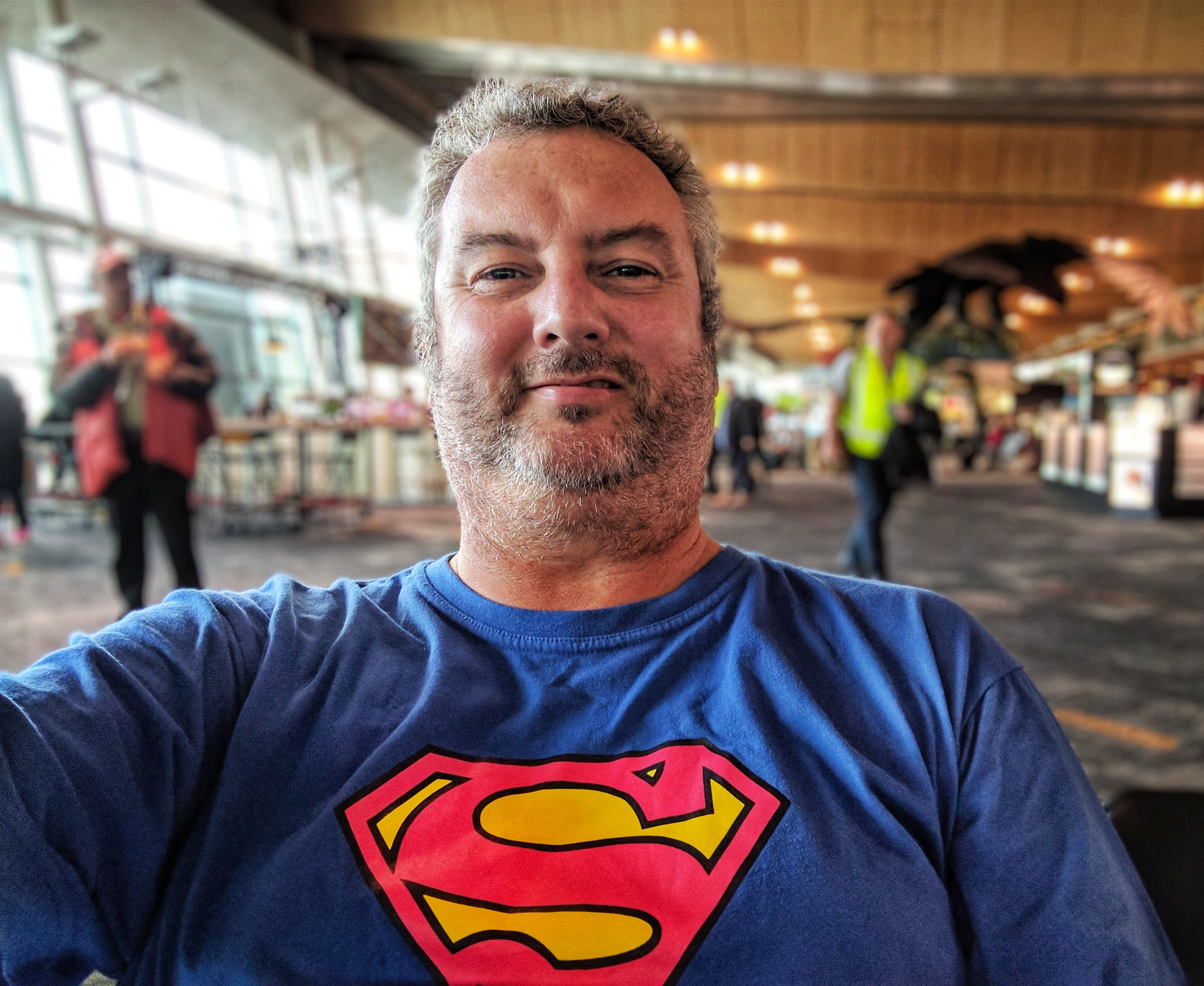 Mike in his Superman t-shirt at Wellington Airport