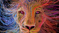 Lion art with cables wallpaper