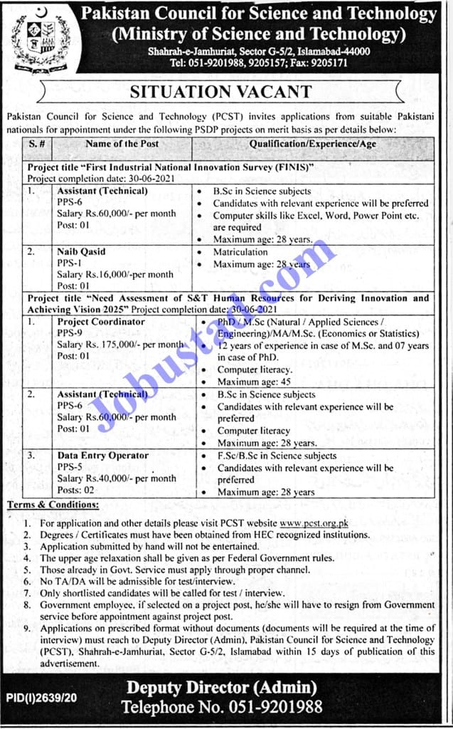 Jobs In Ministry Of Science And Technology Nov 2020