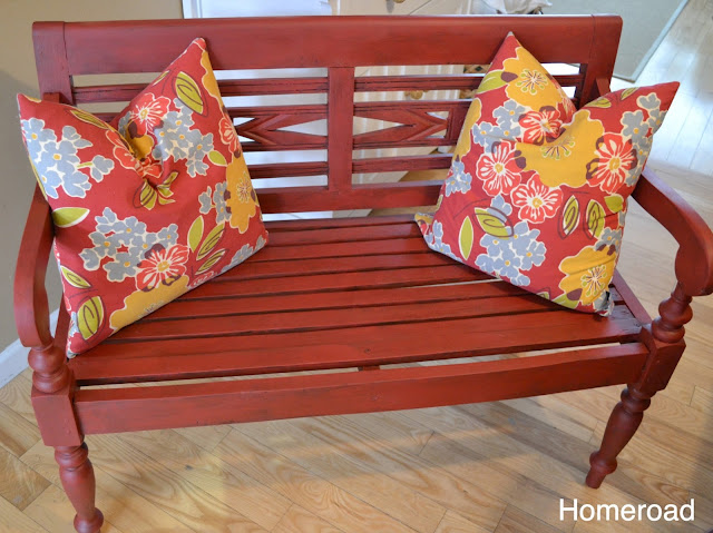 This found bench gets a new life with a coat of red chalky paint and dark wax